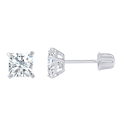 14K White Gold Square Solitaire Princess Cut Cubic Zirconia CZ Stud Screw Back Earrings - 0.5ct (1/2 Carat Princess Cut Solitaire)