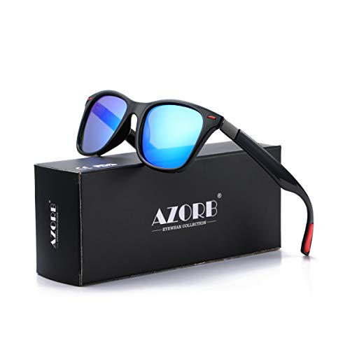 Sunglasses Adult Outdoor (Polarized Sunglasses With Antiskid Flexible Frame for Men Outdoor Driving Sun Glasses (Black/Blue Mirrored))