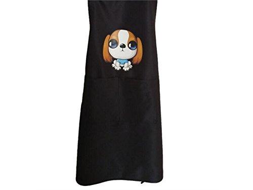 Gelaiken Perfect Adjustable Cartoon Animal Dog Printed Black Apron Pocket(Black)