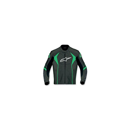 Alpinestars GP-R Perforated Leather Jacket , Distinct Name: Black/Green, Apparel Material: Leather, Size: 54, Gender: Mens/Unisex, Primary Color: Black 3101611-16-54