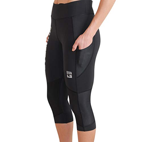 MudGear Women's Flex-Fit Capri Pants - Power Stretch Crop Leggings with Flattering High Waist for Running, Yoga, Gym Workouts, Sports and Fitness (Medium, Black)