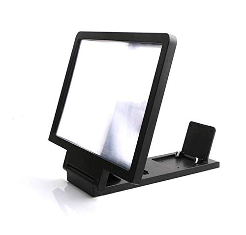 Iusun Screen Magnifier 3D HD Stereoscopic Phone Screen Enlarger Cellphone Movies Video Amplifier with Foldable Holder Stand 8.2 Inch Desktop Wood Bracket for All Smartphone (Black)