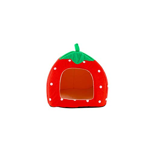Creative Kennel Cat Nest Teddy Dog Fruit Banana Strawberry Pineapple Watermelon Cotton Bed Warm pet Products Foldable Dog House,Strawberry House,M