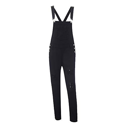 Kehen Women Distressed Stretch Overalls Fashion Denim Bib Pants Black Small by Kehen Women (Image #3)
