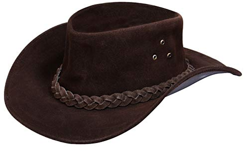 Australian Unisex Brown Western Style Cowboy Outback Real Suede Leather Aussie Bush Hat M