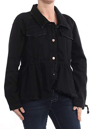 Free People $168 Womens New 1058 Black Embellished Ruffle Fringed Jacket XS B+B