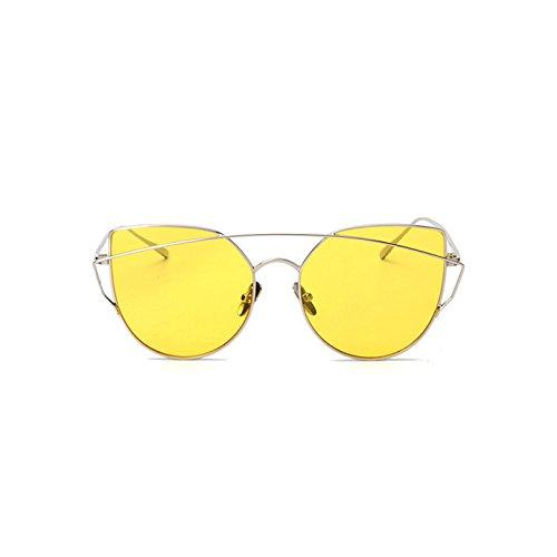 Las Yellow Gafas del Sol Película Océano De De Protección Pink Sol La Gato Redondas del UV400 CTao Gafas De De UV tTRTf1q
