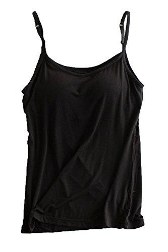 Womens Modal Padded Bra Stretch Sleeveless Cami Tunic Pajama Tank Tops Black US 6-8/Tag Size XL (Underwire Padded Sleepwear)