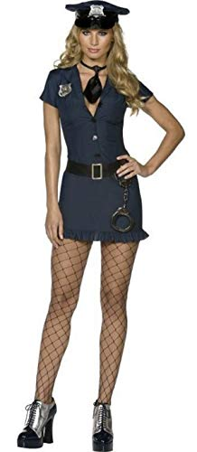 Ladies Sexy Fever Naughty Cop Police Officer Uniform WPC Law Enforcement Cops & Robbers Hero Heroes & Villains Emergency Services Fancy Dress Costume Outfit (UK 8-10) Blue