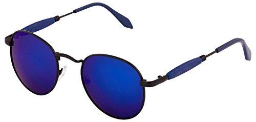 Mirrored Round Sunglasses for Men Women Boys Girls non Polarized Goggle-Stylish Blue Lens
