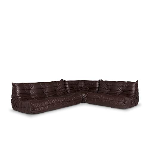 Photo ligne roset Togo Leather Corner Sofa Brown Sofa Couch