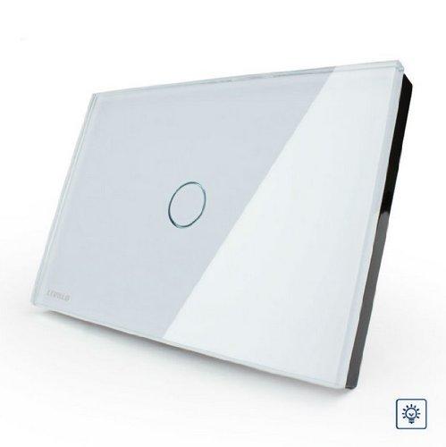NIMTEK US/AU Standard Smart home, White Glass Panel Dimmer Switch, Light Home 1 Gang 1 Way VL-C301D-81