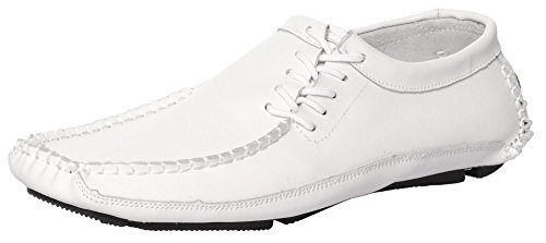CAIHEE Mens Leather Loafers Driving Shoes Moccasins With Lace-up Details White-1 BLsNRtf6MV