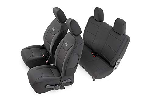 Rough Country 91007 Black Neoprene Seat Cover (Front/Rear) for 13-18 Jeep Wrangler JK 2-Door