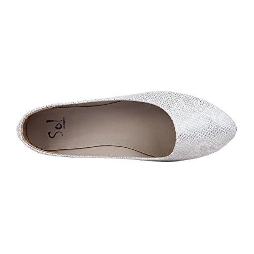 Sol Los Angeles Femmes Or Poisson Échelle À Motifs Ballet Chaussures Plates Gris