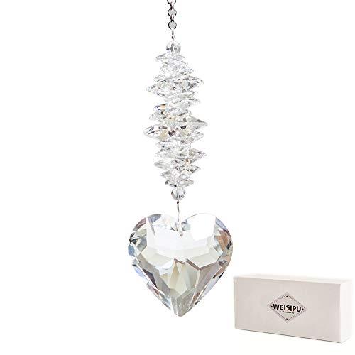 WEISIPU 45mm Heart Crystal Ball Prism Pendant - Windows Suncatcher Outdoor Garden Hanging Décor for Gift,11