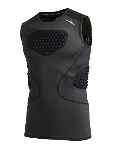 COOLOMG Boy's Basketball Padded Shirt Chest Rib Protector Heart Guard Sternum Protection Compression Shirt Black M ()