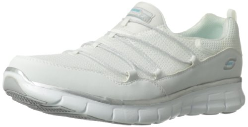 (Skechers Sport Women's Loving Life Memory Foam Fashion Sneaker,White/Silver,9.5 M US)