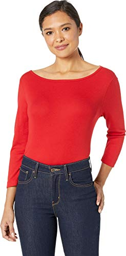Three Dots Women's EZ Fit Relaxed British Tee Winter Berry Small