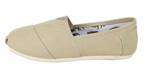 Jiu du Women's Classic Flat Slip On Comfort Loafer Sneaker Shoes with Elastic Top Flats Shoe Khaki Canvas Size US7 (Khaki Canvas Footwear)
