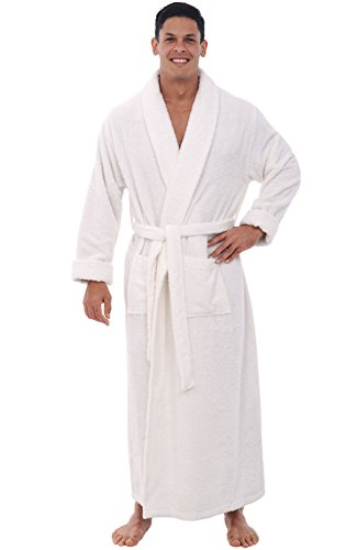 Del Rossa Mens Turkish Terry Cloth Robe, Long Cotton Bathrobe, 1XL 2XL White (A0126WHT2X) Tall Terry Cloth Robes