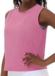 Wjustforu Workout Tank Top for Women Lightweight Yoga Sleeveless Shirts Loose Fit Shirts for Gym Running