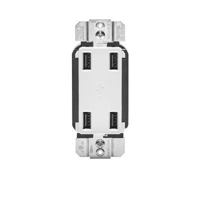 Leviton R02-USB4P-0BW White 4-Port USB Wall Charger