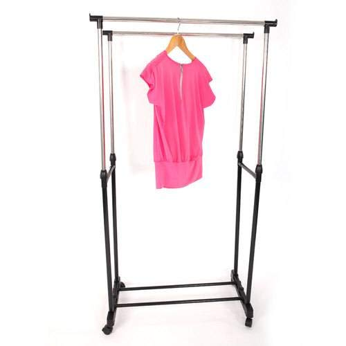 SL&VE Dual bar Vertical Horizontal Stretching Stand Clothes Rack with Shoe Shelf-Black by SL&VE (Image #4)