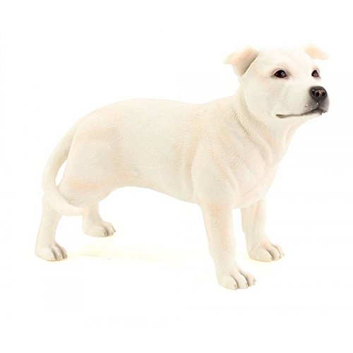 Bull Terrier Figurine - Staffordshire Standing Bull Terrier Dog Figurine (One Size) (White)