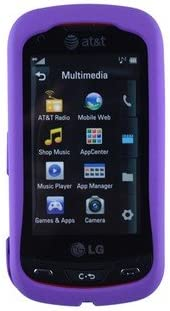 Rubberized Plastic Phone Case for LG Xpression C395 Purple