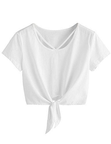 SweatyRocks Women's Loose Short Sleeve Summer Crop T-shirt Tops Blouse White#5 M