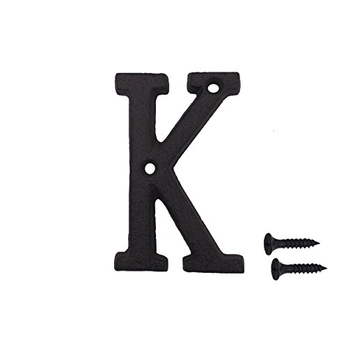 3 Inch Wrought Iron House Number, Matching Screws Included Black Letter K