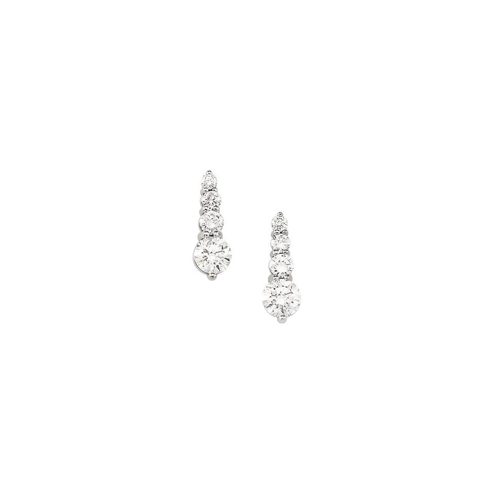 14k White Gold Journey Diamond Earring