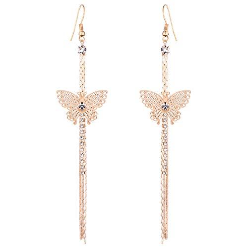 (Starchenie Gold Tassel Butterfly Earrings Threader Earrings Drop Earrings Gift for Women)