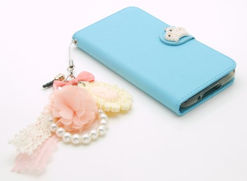 ZZYBIA® S5 TCV Light Blue Leatherette Stand Case Card Holder Wallet with a Romantic Victorian Dust Plug Charm for Samsung Galaxy S5 I9600