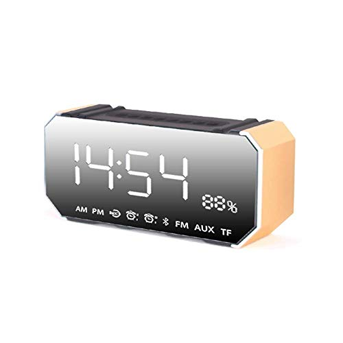 ZHAS Feng Xu Alarm Clock - Metal, Creative Simple Multi-Functional Student Bedroom Bedside Mute Luminous Bluetooth Speaker Clock - 5 Colors Available Alarm Clock (Color : Gold)