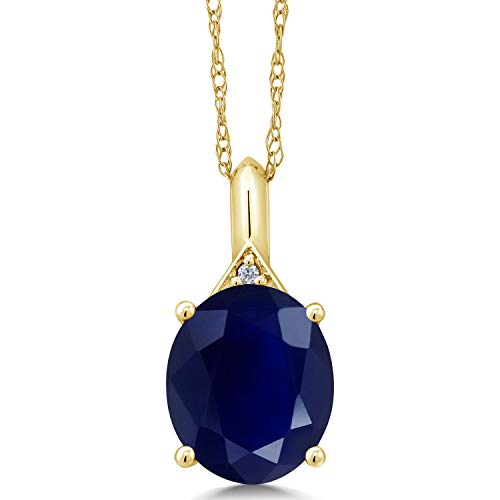 Gem Stone King 5.62 Ct Oval Blue Sapphire White Diamond 14K Yellow Gold Pendant