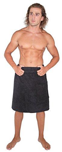 Arus Men's Organic Turkish Cotton Adjustable Closure Spa Shower and Bath Wrap Black S/M ()