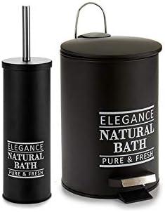 Brosse WC M/étal Noir Natural Bath Arte Regal Poubelle de Salle de Bain