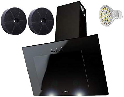 Haag - Filtro de carbón (vertical, C, cristal, LED), color negro Campana extractora de 50 cm, sin cabeza, campana de pared. 50 Negro: Amazon.es: Hogar