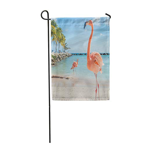 Semtomn Garden Flag 28x40 Inches Print On Two Side Polyester Pink Aruba Three Flamingos on The Beach Blue Bird Caribbean Flying Sea Summer Af Home Yard Farm Fade Resistant Outdoor House Decor Flag -