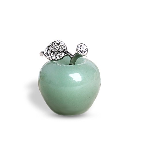 HongJinTian Natural Green Aventurine Crystal &Gemstone Healing Apple Ornament Figurine for Paperweight AVG.1.18Inch (Apple Gem)