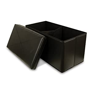 Collapsible Faux Leather Storage Ottoman Bench, Black