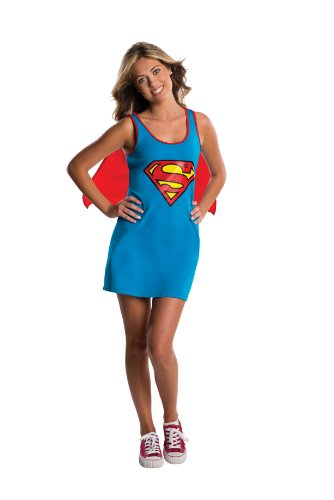 [Rubie's DC Comics Justice League Superhero Style Teen Dress with Cape Supergirl, Blue, Medium Costume] (Super Hero Costumes For Teens)