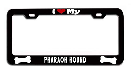 LOHIGHH I Heart My Pharaoh Hound License Plate Frame Black Metal Cute Doggy Dogs Puppy 12