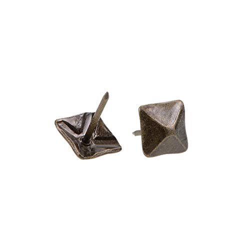 uxcell Upholstery Nails Tacks 12mm Square Head Antique Furniture Nails Pins Bronze Tone 20 Pcs (Tone Upholstery)
