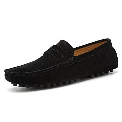 Black Calfskin Loafer Shoes - Go Tour Men's Penny Loafers Moccasin Driving Shoes Slip On Flats Boat Shoes Black 14/50
