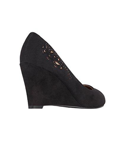 Women Black Slip KRISP Wedge Shoes Office Pumps Mid On Platform Court Heel 5486 gPPwdqrx