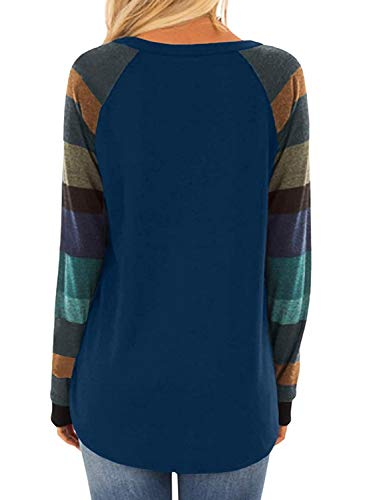 AROGONE Womens Color Block Cotton Long Sleeve T-Shirt Round Neck Loose Casual Blouse Tunic Shirts Tops Navy Blue L