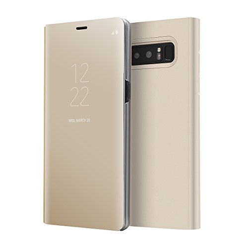 Galaxy Note 8 Case, AICase Luxury Translucent View Window Front Smart Sleep/Wake Up Function Mirror Screen Flip Electroplate Plating Stand Full Body Protective Case for Samsung Galaxy Note 8(Gold)